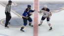 Patrick Maroon & Zack Kassian square off in centre ice showdown