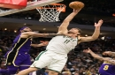 Brook Lopez plays the hero by rescuing stranded game ball stuck above the backboard