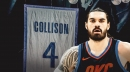 Thunder's Steven Adams reacts to Nick Collison's jersey retirement