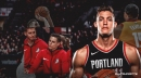 Blazers' Meyers Leonard has hilarious reaction to Zach Collins dancing on bench