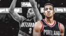 Blazers guard CJ McCollum doing light work after practice