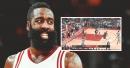 Rockets' James Harden falls to the floor after Spurs' DeMar DeRozan brushes his beard