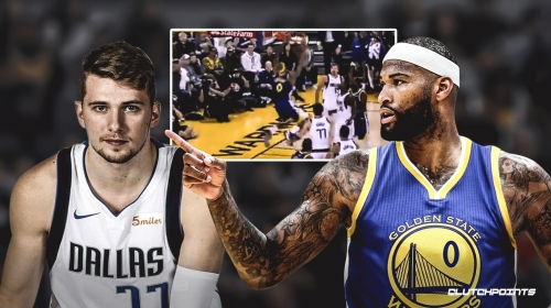 Video: Warriors' DeMarcus Cousins escapes Luka Doncic's defense for the slam