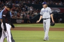 Padres' Andy Green upset with umpires after Diamondbacks' Greg Holland throws behind Francisco Mejia
