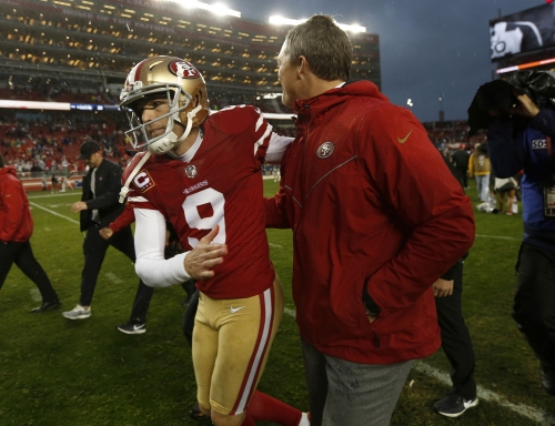 What Sesame Street tune is Robbie Gould singing away from 49ers?