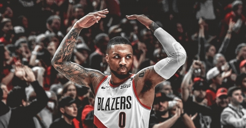 Blazers' Damian Lillard reacts to his playoff career-high 25 points in 3rd quarter