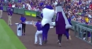 """WATCH: Rockies' Daniel Murphy almost gets run over during the """"Tooth Trot"""" race at Coors Field"""