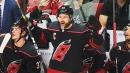 Justin Williams furious on bench after Bruins' third goal