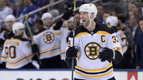 Chara practices with Bruins, on track to play Game 1 of Final