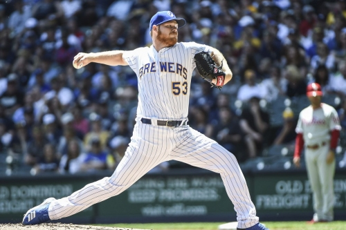 Brandon Woodruff allows one hit in 8 innings, Brewers dominate Phillies, 8-1