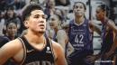 Suns' Devin Booker attends Phoenix Mercury's WNBA home opener against LV Aces