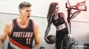 Meyers Leonard's wife sinks shots using both hands at the same time