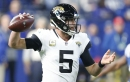 Former Jacksonville Jaguars quarterback Blake Bortles (5) throws in first half action against the Indianapolis Colts on Sunday, Nov. 11, 2018 at Lucas Oil Stadium in Indianapolis, Ind. Bortles now plays for the Rams.