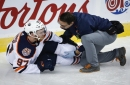 Oilers captain Connor McDavid mum on recovery from scary knee injury