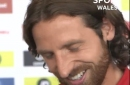 Joe Allen looks painfully embarrassed when asked if he's Welsh Xavi or Pirlo