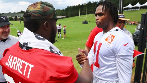 Jones, Jarrett at Falcons camp with no contract complaints. That's worth something.