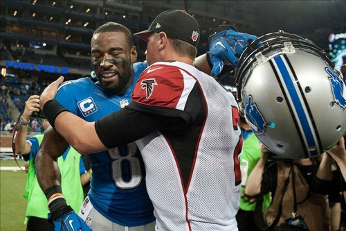 Calvin Johnson visited the final day of Falcons minicamp