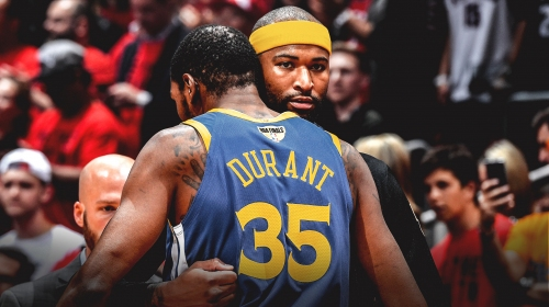 Warriors' DeMarcus Cousins reacts to Kevin Durant's torn Achilles