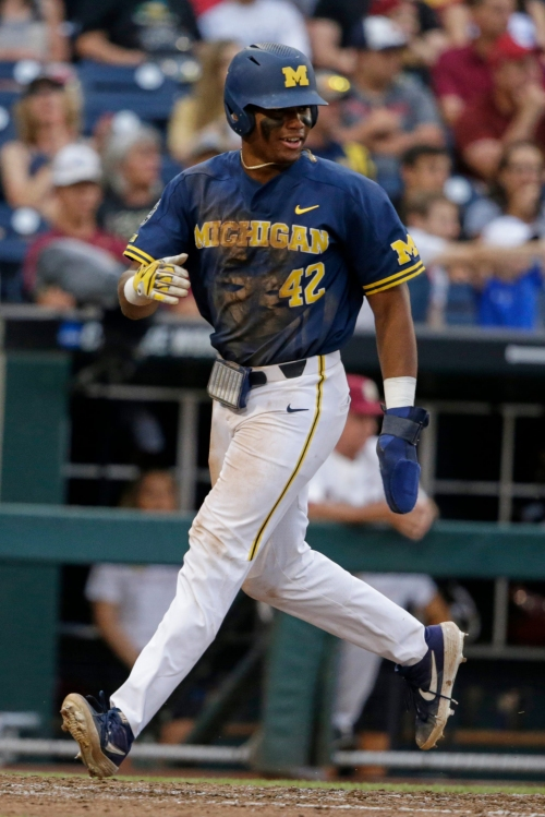 Michigan baseball's Jordan Nwogu can laugh after his College World Series face-plant