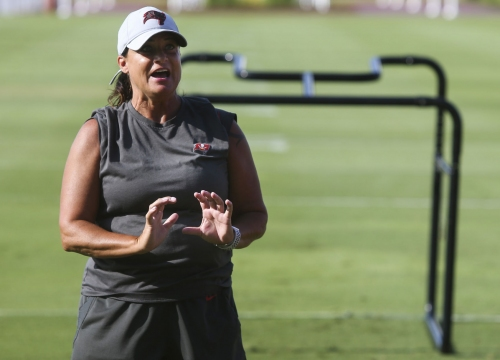 Tampa Bay Buccaneers assistant defensive line coach Lori Locust on the field during mandatory mini-camp on June 5, 2019 at the AdventHealth Training Center in Tampa, Fla.