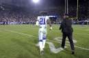 Dallas Cowboys running back Ezekiel Elliott (21) runs off the field after a 30-22 loss against the Los Angeles Rams in the NFL Divisional Round at the Los Angeles Memorial Coliseum on Saturday, Jan. 12, 2019.