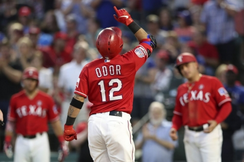 47-40 -Rougie, Rangers ignite the fireworks in 9-3 win over Angels