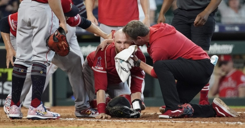Angels catcher Jonathan Lucroy carted off field, hospitalized after violent collision