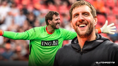 Dirk Nowitzki plays goalie in charity match in Germany