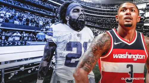 Wizards guard Bradley Beal reacts to Ezekiel Elliott's holdout with Cowboys