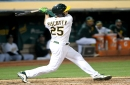 Oakland Athletics call up left-handed power hitter Seth Brown, place Stephen Piscotty on IL