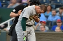 Athletics' Matt Chapman leaves game after getting hit in back of head by pitch