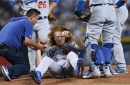 Dodgers pitcher Dustin May 'okay' after taking line drive off head against Diamondbacks