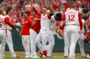 Michael Lorenzen reacts to walk-off hit in Cincinnati Reds' 4-3 win against Diamondbacks