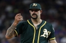 Despite Mike Fiers' scare on the mound, Athletics power out a win over Rangers