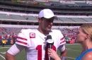 Jimmy Garoppolo says its a step in the right direction after making a full recovery