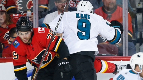 Dube's pair of points helps Flames beat Sharks in pre-season win