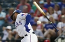 Willie Calhoun leaves game with bruised arm