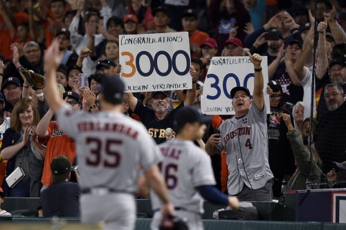 Astros clinch home field through WS. Verlander gets 3000th career strikeout, 300th for season.