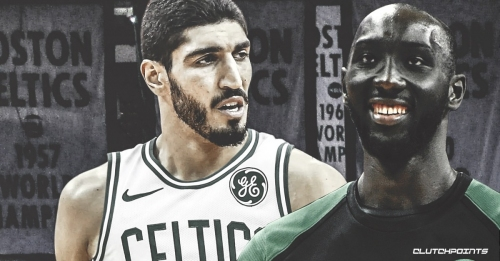 Video: Tacko Fall dunks all over Enes Kanter, shows off 3-point touch