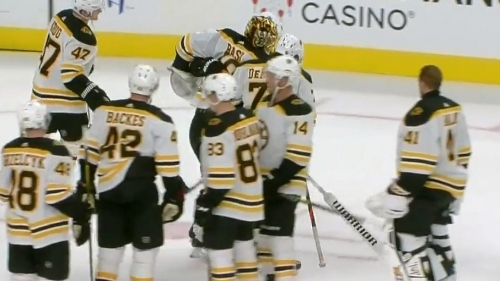 Bruins' Rask helped off the ice after final horn goes