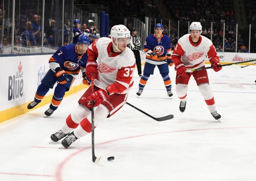 Detroit Red Wings' Evgeny Svechnikov missed all last season, but earned this call up
