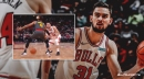 Bulls' Tomas Satoransky goes between the legs of Hawks player and feeds Zach LaVine for the slam