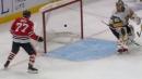 Blackhawks' Kirby Dach deflects puck to score first NHL goal