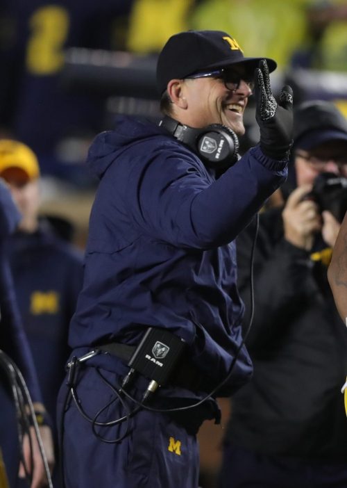 Michigan football's Jim Harbaugh uses Einstein to explain Stephen Spanellis' viral block