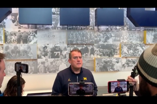 Michigan OL coach Ed Warinner on the challenges of running in the rain