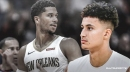 Kyle Kuzma reacts to Josh Hart sticking rookie Jaxson Hayes with turnover at end of game