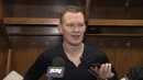 Brady Tkachuk reacts to his brother's insane between-the-legs goal