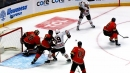 Toews makes nice play in front of net, Kane makes great pass to DeBrincat for goal