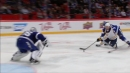 Olofsson stays with his shot after breaking in and beats McElhinney