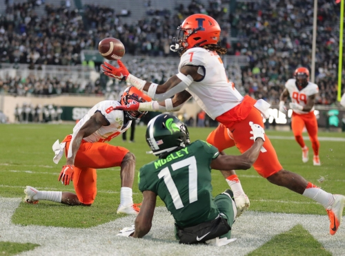 Michigan State stunned as Illinois completes largest comeback in school history, 37-34